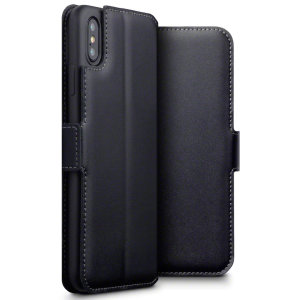 Lavish your iPhone XS Max with a luxurious flip wallet case. Featuring a black genuine leather exterior with beautiful stitching details, this Olixar wallet case will also store your credit and debit cards.