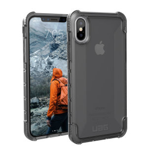 The Urban Armour Gear Plyo semi-transparent tough case in ash grey for the iPhone XS features reinforced Air-Soft corners and an optimised honeycomb structure for superior drop and shock protection.