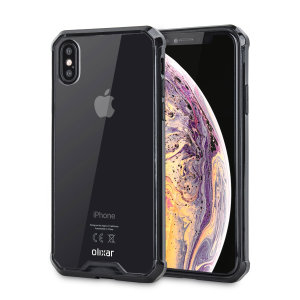 Custom moulded for the iPhone XS. This black and clear Olixar ExoShield tough case provides a slim fitting stylish design and reinforced corner shock protection against damage, keeping your device looking great at all times.