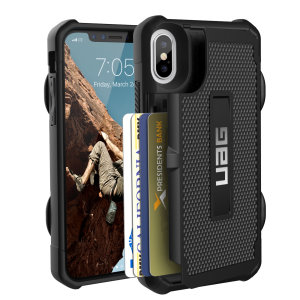 Equip your iPhone XS with extreme, military-grade protection and storage for up to 4 cards with the Trooper Tough Wallet case in black from UAG. Impact resistant and functional this is the ideal way of protecting your phone and providing storage.