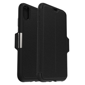 A sophisticated lightweight genuine leather case, the OtterBox Strada wallet cover in shadow black offers perfect protection for your iPhone XS Max, as well as featuring slots for your cards, cash and documents.