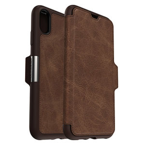A sophisticated lightweight genuine leather case, the OtterBox Strada wallet cover in espresso brown offers perfect protection for your iPhone XS Max, as well as featuring slots for your cards, cash and documents.