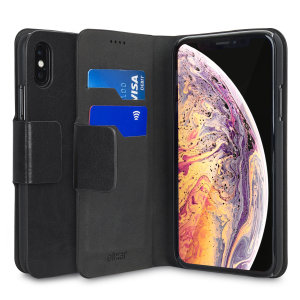 The Olixar leather-style iPhone XS Wallet Case in black attaches to the back of your phone to provide enclosed protection and can also be used to hold your credit cards. So leave your regular wallet at home when you need to travel light.