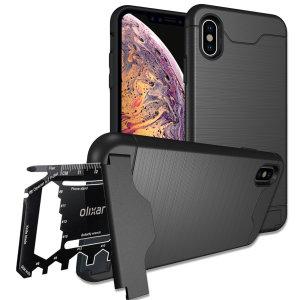 Prepare su iPhone XS para el aire libre con esta funda resistente de Olixar X-Ranger. Con un práctico soporte y un compartimiento seguro para la multi herramienta incluida - o tarjetas  - estará listo para cualquier cosa.
