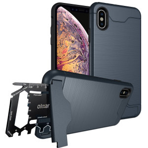 Prepare your iPhone XS for the great outdoors with the rugged X-Ranger case in marine blue. With a handy kickstand and a secure compartment for the included multi-tool - or the card of your choice - you'll be ready for anything.