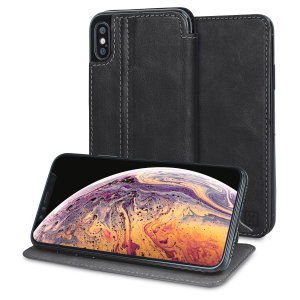Lavish your iPhone XS with a luxurious flip wallet case. Featuring a black genuine leather exterior with beautiful stitching details, this Olixar wallet case will also store your credit and debit cards.