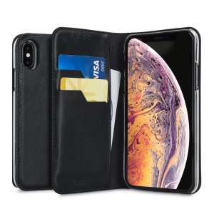 A premium slimline black genuine leather case. The Olixar genuine leather executive wallet case offers perfect protection for your iPhone XS, as well as featuring a smart magnetic media stand and slots for your cards, cash and documents.