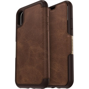 A sophisticated lightweight genuine leather case, the OtterBox Strada wallet cover in brown offers perfect protection for your iPhone XS, as well as featuring slots for your cards, cash and documents.