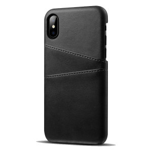 Designed for the iPhone XS, this black executive leather-style case from Olixar provides a perfect fit and durable protection against scratches, knocks and drops with the added convenience of 2 RFID protected credit card-sized slots.