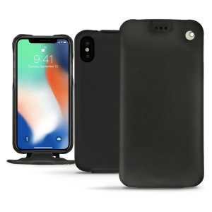 Noreve Tradition iPhone XS Max Premium Leather Flip Case - Black
