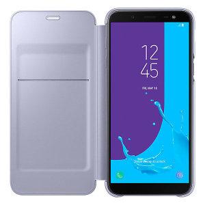 Bescherm de achterkant, zijkanten en het scherm van je Samsung Galaxy J6 2018 tegen schade terwijl je je meest vitale kaarten bij de hand hebt met de Officieel Wallet Cover Case van Samsung.