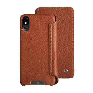 Treat your iPhone XS Max to exquisite handmade craftsmanship and the highest quality materials. Featuring genuine tanned bridge leather and 5 card slots, the Vaja Wallet premium leather case in tan is something special.