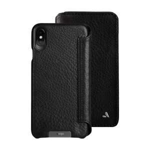 Treat your iPhone XS Max to exquisite handmade craftsmanship and the highest quality materials. Featuring genuine tanned bridge leather and 5 card slots, the Vaja Wallet premium leather case in black is something special.