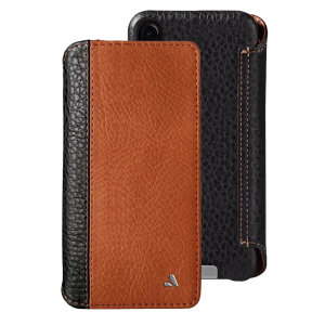Treat your iPhone XS Max to exquisite handmade craftsmanship and the highest quality materials. Featuring genuine tanned two tone bridge leather and 4 card slots, the Vaja Wallet premium leather case in black and tan is something special.