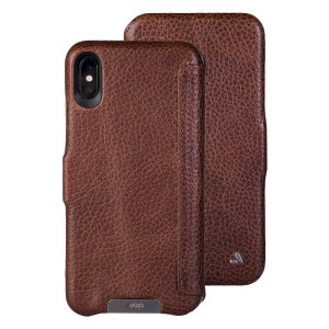 Treat your iPhone XS Max to exquisite handmade craftsmanship and the highest quality materials. Featuring genuine tanned bridge leather, the Vaja Folio premium leather case in brown is something special.