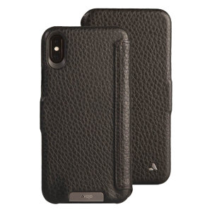 Treat your iPhone XS Max to exquisite handmade craftsmanship and the highest quality materials. Featuring genuine tanned bridge leather, the Vaja Folio premium leather case in black is something special.