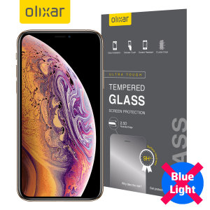This ultra-thin tempered glass screen protector for the iPhone XS from Olixar offers toughness, high visibility and sensitivity all in one package with with added bonus of limiting potentially harmful blue light rays!