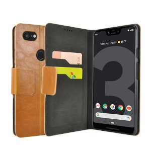 Protect your Google Pixel 3 XL with this durable and stylish tan leather-style wallet case from Olixar, featuring two card slots. What's more, this case transforms into a handy stand to view media.