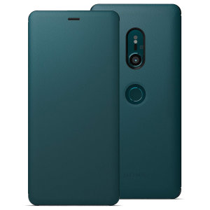 This high quality official SCSH70 bi-fold folio case from Sony houses your Xperia XZ3 smartphone, providing protection and access to your ports and features while incorporating a built-in viewing stand - in green.