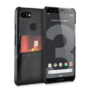 Designed for the Google Pixel 3, this black executive leather-style case from Olixar provides a perfect fit and durable protection against scratches, knocks and drops with the added convenience of 2 RFID protected credit card-sized slots.