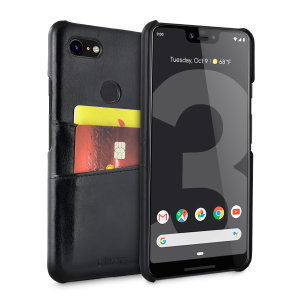 Designed for the Google Pixel 3 XL, this black executive leather-style case from Olixar provides a perfect fit and durable protection against scratches, knocks and drops with the added convenience of 2 RFID protected credit card-sized slots.