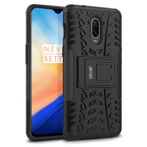 Protect your OnePlus 6T from bumps and scrapes with this black ArmourDillo case from Olixar. Comprised of an inner TPU case and an outer impact-resistant exoskeleton, with a built-in viewing stand.