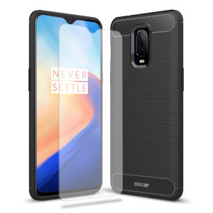 Flexible rugged casing with a premium matte finish non-slip carbon fibre and brushed metal design, the Olixar Sentinel case in black keeps your OnePlus 6T protected from 360 degrees with the added bonus of a tempered glass screen protector.