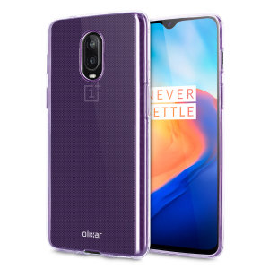 Custom moulded for the OnePlus 6T, this purple  FlexiShield case from Olixar provides a slim fitting and durable protection against damage.