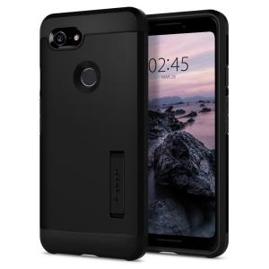 The Tough Armor case for the Google Pixel 3 in black has shock absorbing technology specifically incorporated to protect the device from impacts from any angle.