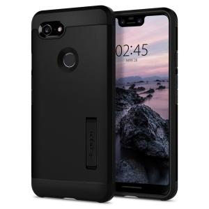 The Tough Armor case for the Google Pixel 3 XL in black has shock absorbing technology specifically incorporated to protect the device from impacts from any angle.