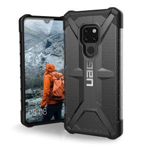 The Urban Armour Gear Plasma semi-transparent tough case in ash grey and black for the Huawei Mate 20 features a protective case with a brushed metal UAG logo insert for an amazing rugged and stylish design.