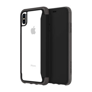 The Survivor Clear wallet case by Griffin houses your iPhone XS Max within a slim-fitting see-through back case and encloses it with a sophisticated black folio cover. It also features 3 slots for your debit and credit cards, cash, ID and more.