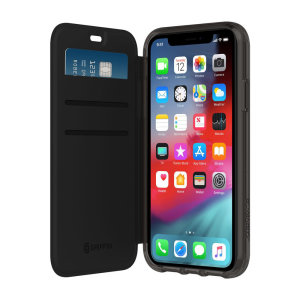 The Survivor Clear wallet case by Griffin houses your iPhone XR within a slim-fitting see-through back case and encloses it with a sophisticated black folio cover. It also features 3 slots for your debit and credit cards, cash, ID and more.