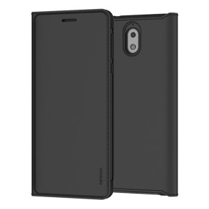 Protect your Nokia 3.1's back, sides and screen from harm while keeping your most vital card close to hand with the official flip wallet cover in black from Nokia.