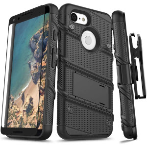 Equip your Google Pixel 3 with military grade protection and superb functionality with the ultra-rugged Bolt case in black from Zizo. Coming complete with a tempered glass screen protector, handy belt clip and integrated kickstand.