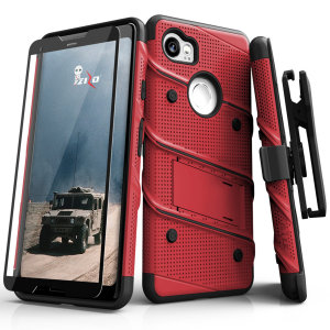 Equip your Google Pixel 3 with military grade protection and superb functionality with the ultra-rugged Bolt case in red / black from Zizo. Coming complete with a tempered glass screen protector, handy belt clip and integrated kickstand.