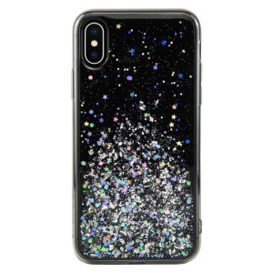 Stand out from the crowd with the Starfield iPhone XS Case from SwitchEasy in black. With it's unique glitter pattern and slim design, your iPhone will truly sparkle and shine.