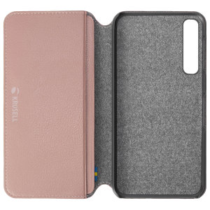 Krusell's Pixbo 4 Card Slim Wallet vegan leather case in pink combines Nordic chic with Krusell's values of sustainable manufacturing for the socially-aware Samsung Galaxy A7 2018 owner who seeks 360° protection with extra storage for cash and cards.