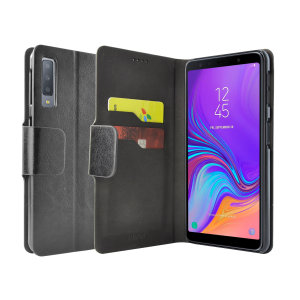 Protect your Samsung Galaxy A7 2018 with this durable and stylish black leather-style wallet case by Olixar. What's more, this case transforms into a handy stand to view media.