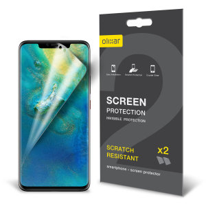 Keep your Huawei Mate 20 Pro screen in pristine condition with this Olixar scratch-resistant screen protector 2-in-1 pack.This film screen protector keeps your phone protected from any scratches whilst being compact and thin being suitable for any case.