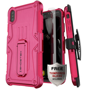 The iPhone XR Iron Armor case in pink from Ghostek provides your iPhone XR with fantastic all round protection.