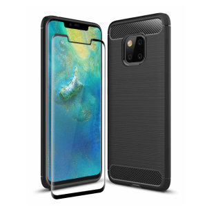 Flexible rugged casing with a premium matte finish non-slip carbon fibre and brushed metal design, the Olixar Sentinel case in black keeps your Huawei Mate 20 Pro protected from 360 degrees with the added bonus of a tempered glass screen protector.