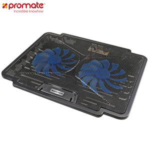 Cool your laptop with the AirBase-1 from Promate. Featuring dual fans putting out only 26 dBA as well as a sturdy, adjustable construction, the Promate AirBase-1 will keep your laptop chilled.
