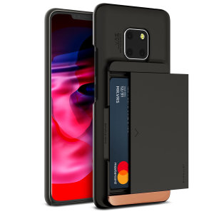 Protect your Huawei Mate 20 pro with this precisely designed case in black from VRS Design. Made with tough yet slim material, this hardshell construction with soft core features patented sliding technology to store two credit cards or ID.