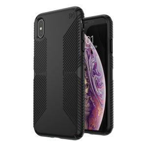 Meet the Speck Presidio Grip - the evolution of the popular CandyShell Grip case. An ultra-rugged black case made from two different protective layers for the iPhone XS Max from Speck. Features enhanced drop protection, superior matte finish.