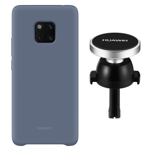 Hold your phone safely in your car while shielding it from damage with this official Huawei magnetic car holder and blue silicone case combo for your Huawei Mate 20 Pro.