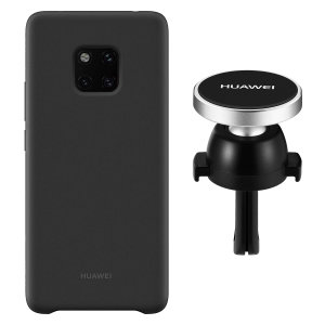 Hold your phone safely in your car while shielding it from damage with this official Huawei magnetic car holder and black silicone case combo for your Huawei Mate 20 Pro.
