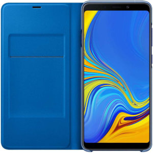 Protect your Samsung Galaxy A9 2018's back, sides and screen from harm while keeping your most vital cards close to hand with the official flip wallet cover in blue from Samsung.