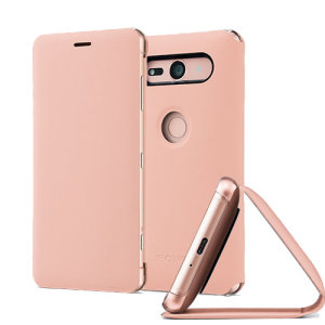 This high quality official bi-fold folio case in pink from Sony houses your Xperia XZ2 Compact smartphone, providing protection and access to your ports and features while incorporating a built-in viewing stand.