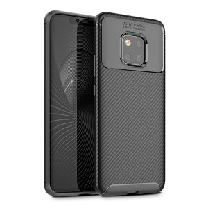Flexible rugged casing with a premium matte finish non-slip carbon fibre and brushed metal design, the Olixar carbon case in black keeps your Huawei Mate 20 Pro protected.